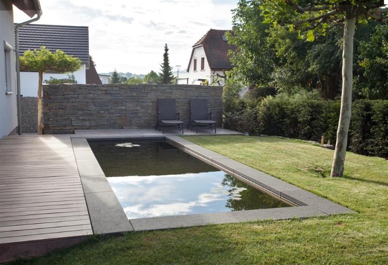 garten mit strengem schwimmbecken  living stone garden, Garten und ...
